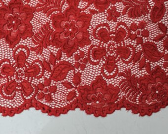 Red 58'' Caroline Floral Scalloped Nylon Stretch Lace Fabric by the Yard- Style 686