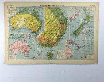 French vintage map Australia & New Zealand lithograph 1920s. Australie et Nouvelle Zélande Map