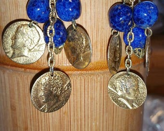 Vintage coin and bead earrings
