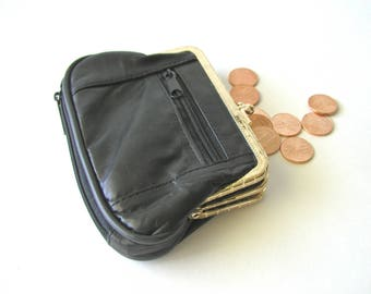Vintage Black Soft Leather Kisslock Coin Purse 2 Compartments