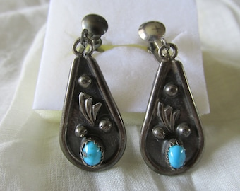 """Native American NAVAJO STERLING Screw Back EARRINGS Turquoise Accent Marked L Spencer 1970's Measure 2"""" x .75"""" Ladies Signed Collectible"""