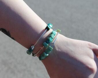 Bracelet twisted 3 row 'turquoise shell.