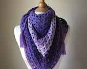 Purple Crochet Scarf, Tri...