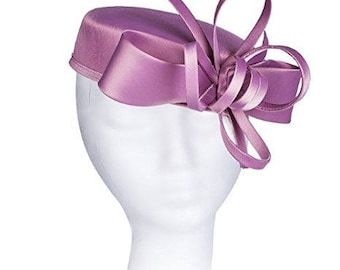 Janeo Kate Pillbox Fascinator Hat Headwear. Classic, Crisp and Clean Shape with Bows. Pearlised Satin Pill Box in 5 Colours - Dusky Pink