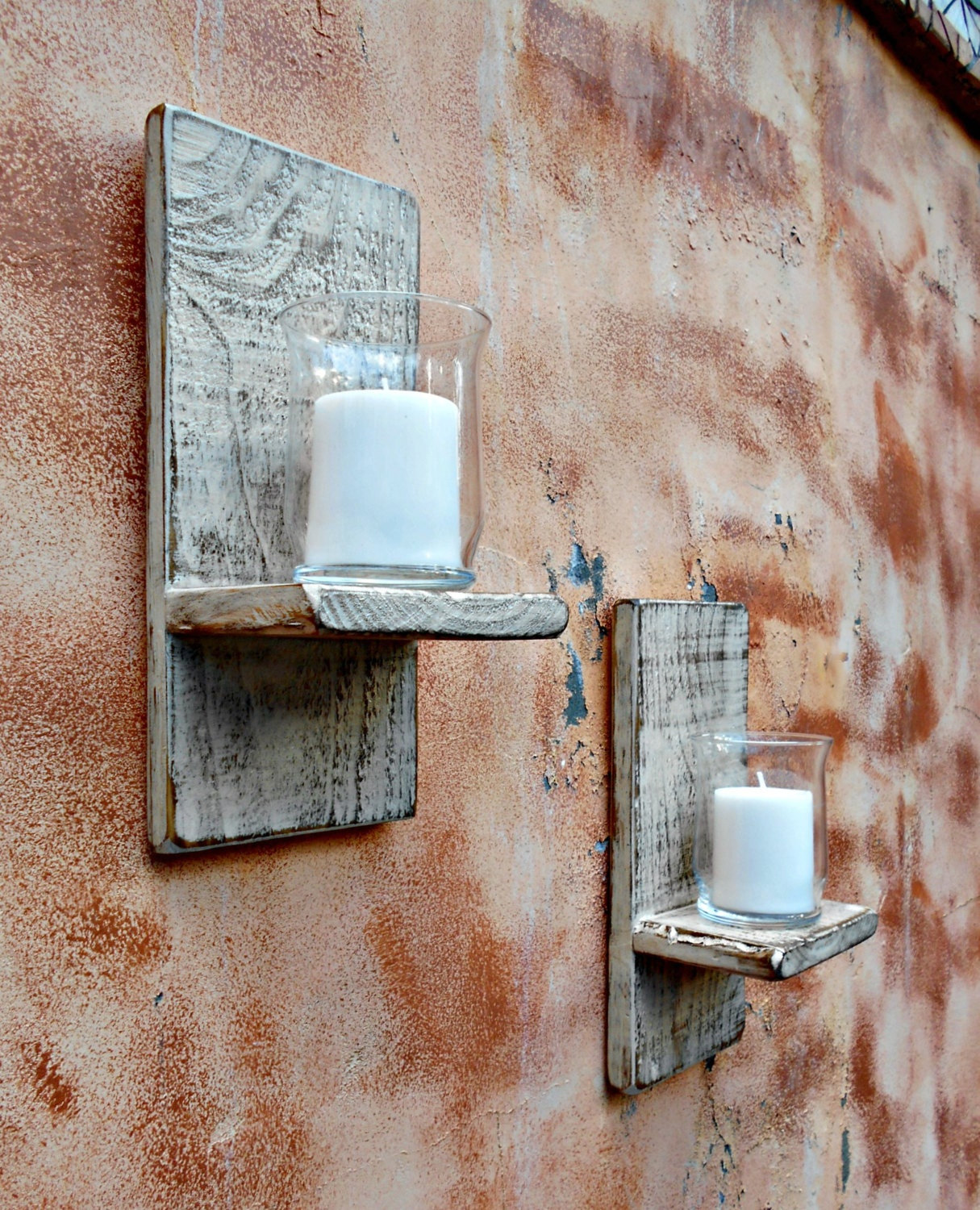 Rustic Wooden Wall Sconces : Wood Wall Sconce Rustic Candle Sconce Set by RobsRusticCreations