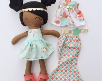Dress up doll - fabric doll  - heirloom doll - rag doll - girls room decor - birthday gift - cloth doll - african american doll - black doll