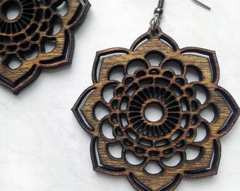 Wood Mandala Earrings - Lightweight Jewelry, Laser Cut Jewelry, Bohemian Earrings, Wood Jewelry, Gifts for Women, Natural Jewelry, Bohemian