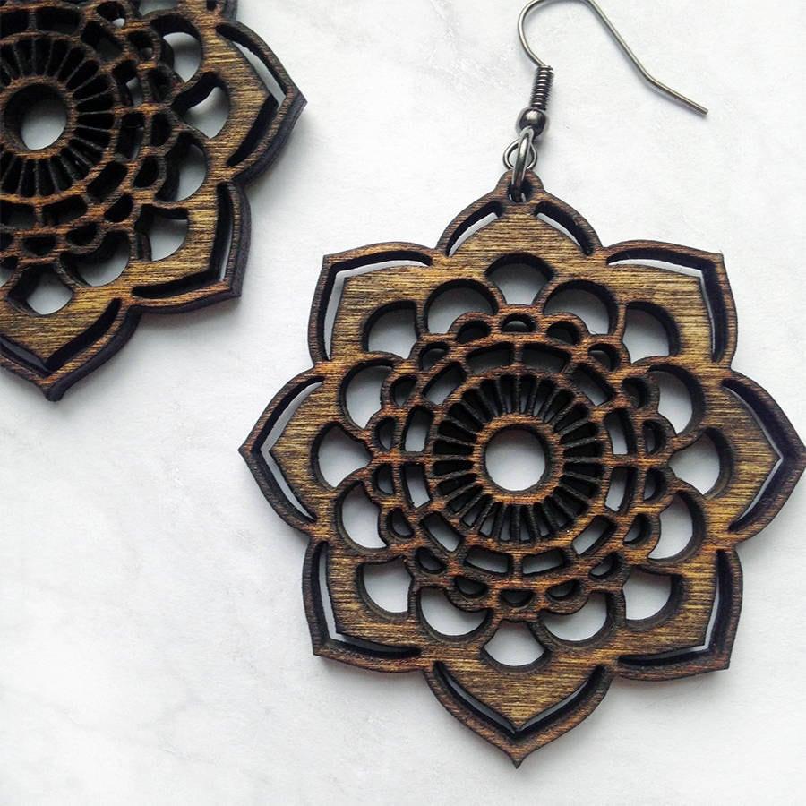Wood Mandala Earrings Lightweight Jewelry Laser Cut