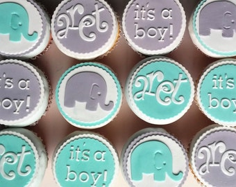 12 Edible Cupcake Toppers Baby Boy Shower Elephant Whale Turtle Theme