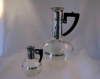 Mid-Century, Retro Glass Coffee Carafe and Individual Server
