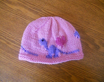 Not just for boys - Adorable Girl Dinosaur Hat - Hand-Knit in Pink
