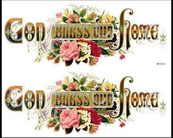 Vintage Victorian Shabby God Bless Our Home Sign Label Waterslide Decals~ MIS532