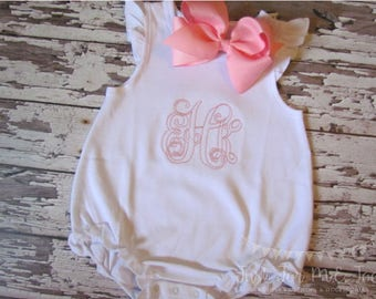 Personalized Monogrammed Girls Bubble- Monogram Baby Bubble- Monogrammed Angel Sleeve Bubble- Personalized Bubble- Baby Romper