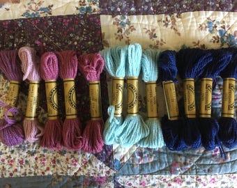 Paternayan Wool Tapestry Thread - 12 total Skeins - Blue and Purple Skeins - Johnson Craft Yarn - Persian Wool Yarn - 8 Yard Skeins