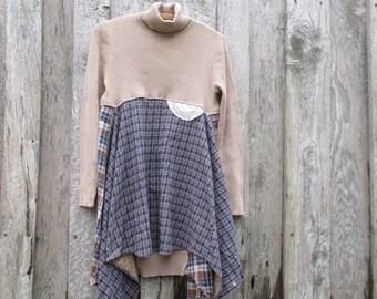 Artsy Boho Turteneck Sweater Dress Tunic Free Range Rags Upcycled Small - Medium