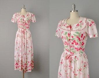 30s Dress // 1930s Cherry Print Handkerchief Cotton Dress  // Medium