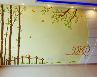 Tree branch wall decal stickers Floor to Ceiling tree wall decal office mural vinyl decal-Spring Tree with flock birds, fence, grass-DK297