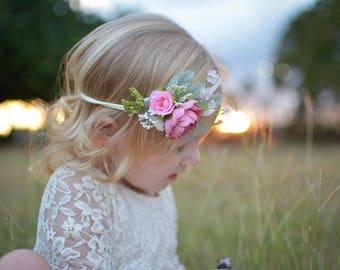 Pink headband on nylon, pink floral headband, pink halo, newborn halo, newborn prop, newborn headband, headband on nylon, nylon headband