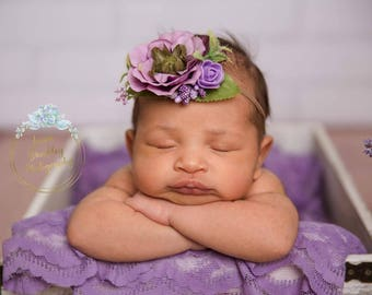 Newborn headband- lavender headband- newborn photography- photo prop-purple nylon headband- photography prop