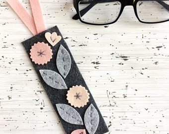 Felt Bookmark with Floral Design - Mother's Day Gift