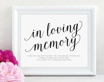 In Loving Memory Sign, Wedding Poem, Wedding Sign, Memorial Sign, Loving Memory Sign, Wedding Printable, PDF Instant Download, MM01-1