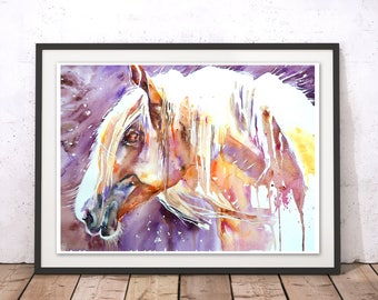 Horse Art, Horse Wall Decor, Purple Horse Print, Horse Painting, Horse Gift Wall Hanging by Liz Chaderton