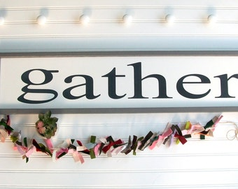 Gather Sign . Kitchen Sign . Dinning Room . Farmhouse . Gather. Farmhouse Kitchen . Fixer Upper . 36 x 8 . Modern Farmhouse .