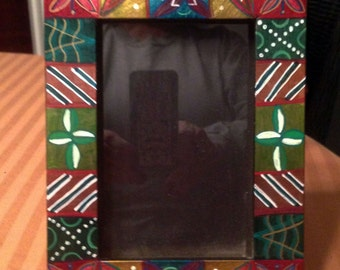 """Hand Painted Bohemian  Wood Decorative Metalic  Picture Frame 5""""W7""""Hx1""""D Pic. 4""""x6""""  F0058"""