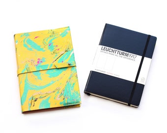 Yellow Refillable Notebook Cover, A5 Leather Journal Leuchtturm Cover, Handmade