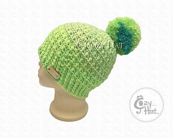 Ready to ship! Cozy Cake Beanie Hat. Hand Crochet Beanie. Size 4 to 6 yr Kids Hat. Unisex