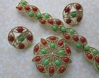 Vintage Sarah Coventry Acapulco parure. Bracelet, brooch and earrings.