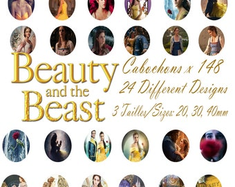 Beauty and the Beast movie Disney Digital Collage 4 Sheets 148 images 20, 30, 40 mm Cabochon Bottlecap Pendant Printable clipart Download