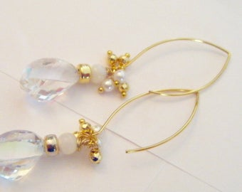 EARRING gold plated Mystic Rainbow quartz long