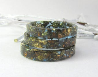 Dark mens ring Resin ring chameleon flakes inside Mens ring Mens ring Man resin band Men ring Man jewelry Blue Resin ring Blue resin rings