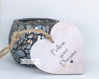 Follow Your Dreams, Wooden Quote Heart, Motivational quote,  Wooden hearts, Birthday Gift, Wedding Gifts, Friendship, Inspirational Quote