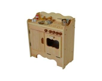 Natural Wooden Play Kitchen-Wooden Toy Kitchen- Waldorf Kitchen-Montessori play stove-Wooden Toys-Play Kitchen- Child's Waldorf Play Kitchen