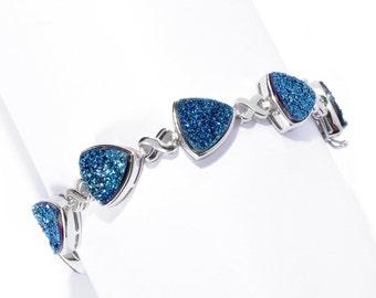 Sterling Silver 21.96ctw Blue Drusy 9.5mm Trillion Link Bracelet SZ 6.5