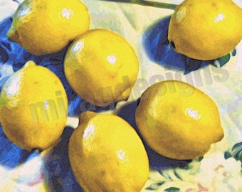 Lemons on Floral Tablecloth Note Card