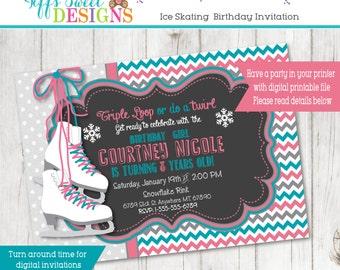Ice Skate Invitation - Ice Skating Party - Winter - Printable - Custom