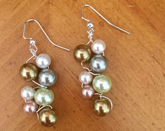 Pearl beaded earrings, gray pearl earrings, pearl earrings, cluster earrings, multi color pearls
