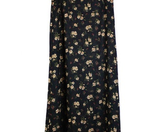 Vintage 90s, High Waisted, Floral Skirt Black with Cream Flowers, 90s fashion, 90s clothing, 90s grunge, 90s skirt, unisex, maxi skirt