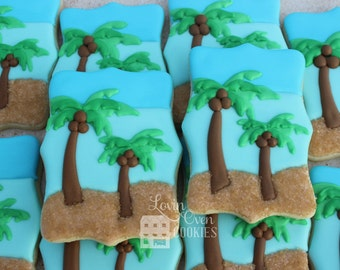 Palm Tree Beach Scene Decorated Sugar Cookies - 1 Dozen
