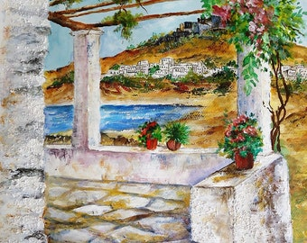 Acrylic and Watercolor Painting Art,Original painting, Wall art,Glances from the Greek islands,Rhodes,Gazing at Lindos