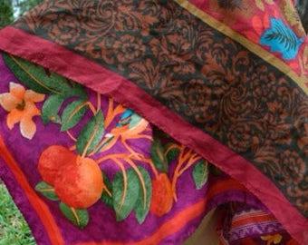 Orange Blossum Pink Vibrant Flower Hippie Fairy Skirt