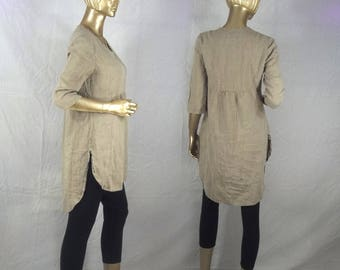 Linen tunic, lagenlook, beige, plus size, shabby chic, hankie hem,  layered look, top, dress, XS-3XL. Free shipping in USA.