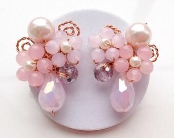 Baby pink earrings , drop earrings , pale pink earrings , pastel pink earrings , unique jewellery