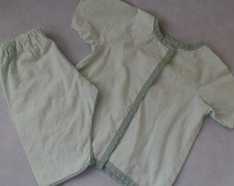 Vintage Handmade Toddler's Pajamas, Baby PJs, Soft Light Green Fabric with Darker Green Trim, Children's Two Piece Snap Front Kids Pajamas