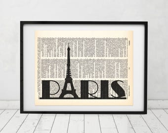 Paris Typography with Eiffel Tower Dictionary art print - Upcycled dictionary art - Book print page art #069