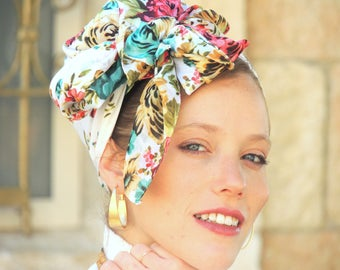 Easy Floral Square Headscarf Tichel, Hair Snood, Head Scarf, Head Covering, jewish headcovering, Scarf, Bandana,apron