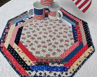 Quilted Table Topper. Memorial Day, 4th of July, Table Runner. Centerpiece Mat. Octagonal. Reversible. Seasonal. Gift. Approx 20 in across
